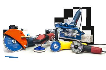 Bodegón de herramientas eléctricas como amoladoras angulares, pulidoras, esmeriladoras...